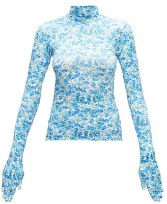 Vetements Glove-sleeved Floral-print Jersey Top - Womens - Blue White
