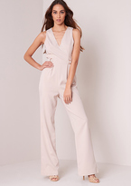 Missy Empire Selina Beige D-ring Tailored Wide Leg Jumpsuit