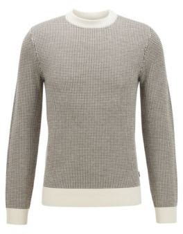 HUGO BOSS Slim Fit Sweater In Micro Houndstooth Virgin Wool - White