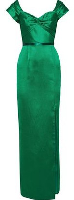 Marchesa Off-the-shoulder Twist-front Satin-pique Gown