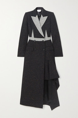 Alexander McQueen Asymmetric Double-breasted Donegal Wool-blend Coat - Black