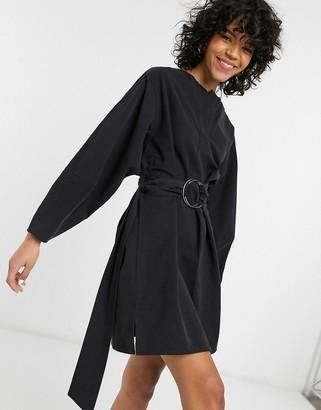 Weekday Summer tie-detail collared mini dress in black