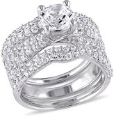 Ice Sofia B 4 1/5 CT TGW Created White Sapphire Bridal Set in Sterling Silver