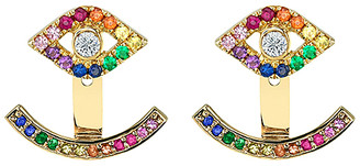 Swarovski Golden Moon Women's Earrings Gold - Red & 14k Gold-Plated Evil Eye Hook Drop Earrings With Crystals