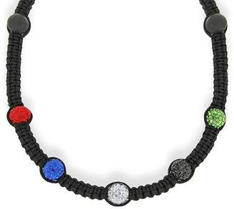 Shamballa Crystalique Black Black Cord Necklace with Multicolour Crystals and Beads Necklace of 45cm/17.75""