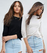 Asos Tall Jumper With Crew Neck And Panel Detail 2 Pack