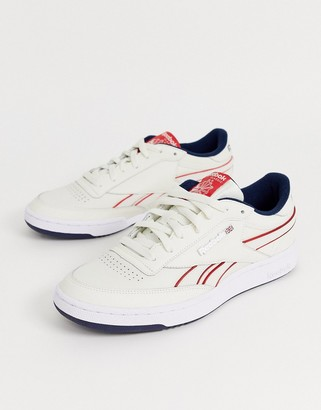 Reebok revenge plus sneakers white with piping and metal logo