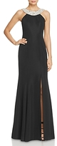 JS Collections Beaded Neckline Ottoman Gown