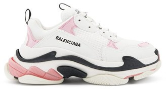 Balenciaga Triple S Leather And Mesh Trainers - Pink White