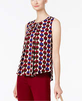 Nine West Printed Pleated-Front Shell