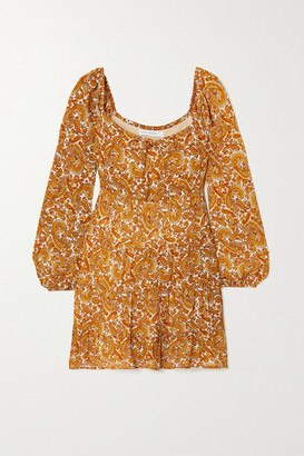 Faithfull The Brand + Net Sustain Indira Tie-detailed Paisley-print Chiffon Mini Dress - Mustard