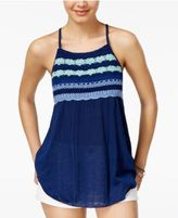 Almost Famous Juniors' Crochet-Trim Babydoll Tank Top