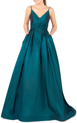Mac Duggal V-Neck Sleeveless Ruched-Waist Ball Gown w/ Pockets