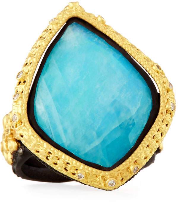 Armenta Old World 18k Turquoise & Moonstone Kite Cocktail Ring, Size 7