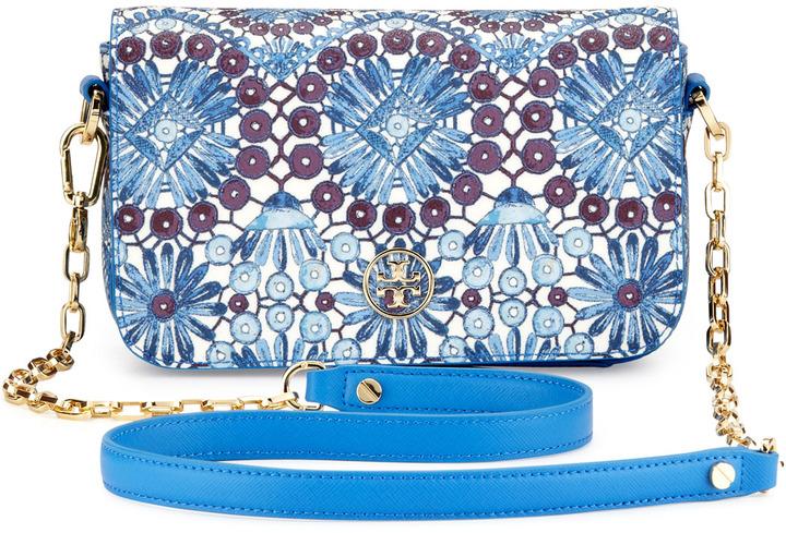 Tory Burch Robinson Printed Chain Mini Bag, Blue
