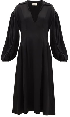 KHAITE Farrely Open-collar Satin Midi Dress - Womens - Black
