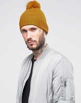 Asos Bobble Beanie In Mustard