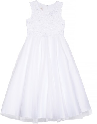Lauren Marie Embroidered Bodice Tulle Dress