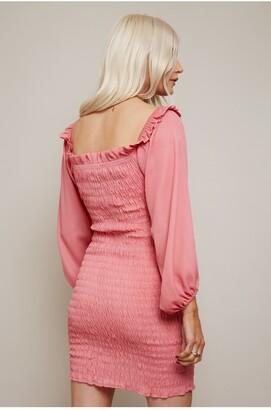 Little Mistress Lacey Hot Pink Bardot Mini Dress With Shirred Hem