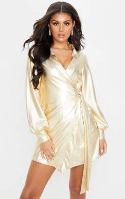 PrettyLittleThing Gold Metallic Long Sleeve Tie Detail Shift Dress