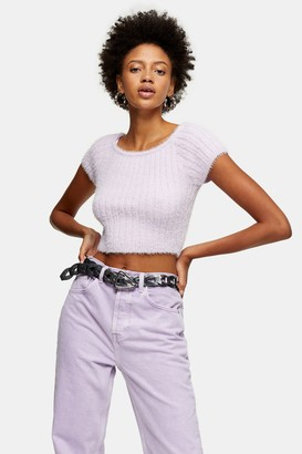 Topshop Womens Lilac Fluffy Knitted Crop Top - Lilac