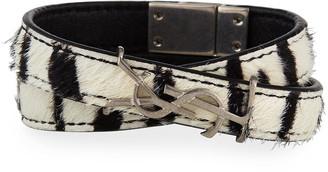 Saint Laurent Leather Double-Wrap Bracelet, Size S