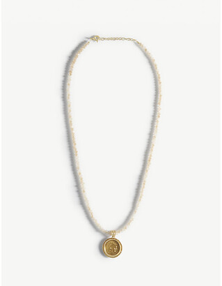 Hermina Athens Hercules yellow-gold plated sterling silver and glass crystals necklace