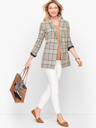 Talbots Double Breasted Plaid Blazer