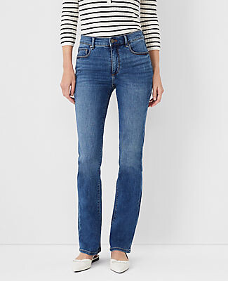 Ann Taylor Petite Sculpting Pocket Slim Boot Cut Jeans in Mid Stone Wash
