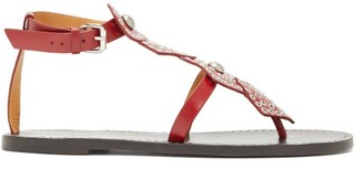 Isabel Marant Studded Leather Sandals - Womens - Red