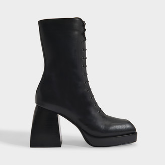 Nodaleto Bulla Lace Up Boots In Black Lamb Leather