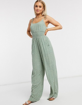 American Eagle double tie jumpsuit in sage print