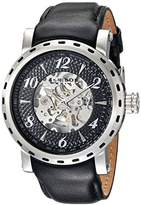 Akribos XXIV Men's AK698SSB Automatic Movement Watch with Black and See Thru Dial and Black Leather Strap