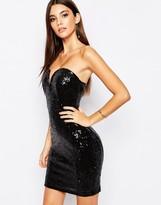 TFNC Deep Plunge Mini Sequin Dress