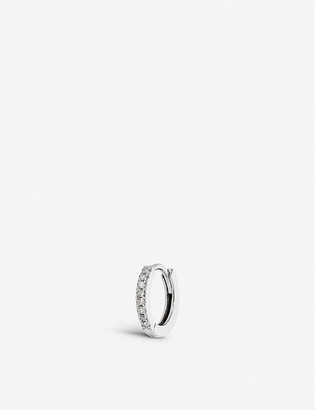 Otiumberg Medium diamond and 9ct white gold huggie hoop earring