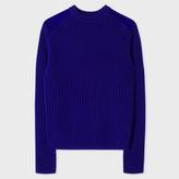 Paul Smith Men's Indigo Shetland Wool-Blend Sweater With Suede Shoulder Panels