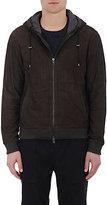 Vince Men's Suede Hooded Jacket-BROWN