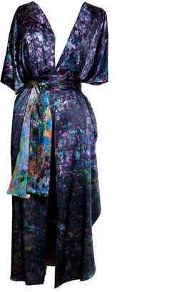 Carmen Molina Night Garden Silk Wrap Kaftan