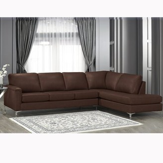 Platte Premium Top Grain Italian Leather Right Hand Facing Sectional Orren Ellis Upholstery Color: Slate