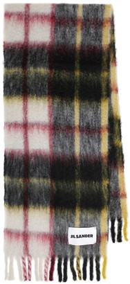 Jil Sander Checked mohair and wool-blend scarf
