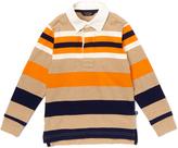 E-Land Kids Burnt Orange & Tan Rugby-Stripe Polo - Toddler & Boys