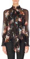 Erdem Isabelle Floral-Print Chiffon Blouse, Black Pattern