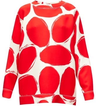 Marni Abstract Elbow-patch Polka-dot Sweatshirt - Red White