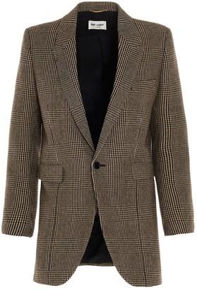 Saint Laurent Single-Breasted Prince Of Wales Tweed Jacket