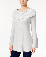 Style&Co. Style & Co. Petite Off-The-Shoulder Cable-Knit Sweater, Only at Macy's