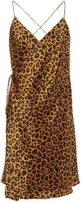 Mason by Michelle Mason Open-back Leopard-print Silk-charmeuse Mini Wrap Dress