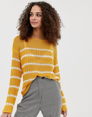 Brave Soul striped loose fit textured stitch jumper in gold-Yellow