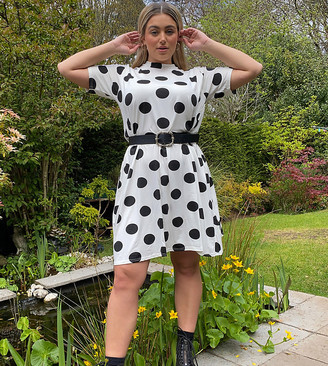 Wednesday's Girl curve mini t-shirt dress in polka dot