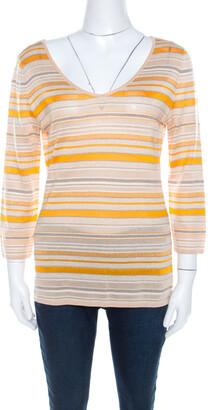 Escada Beige And Orange Stripes Knit Long Sleeve Top L