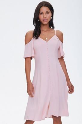 Forever 21 Buttoned Open-Shoulder Dress
